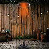 2KW Electric Garden Patio Heater CE Approved Infrared Outdoor Quartz 2000W 5 Seconds Heat, Waterproof, 3 Power Settings Trip Safety Feature Adjustable Heat Angle 1.8 to 2.1m Height (1.8M)