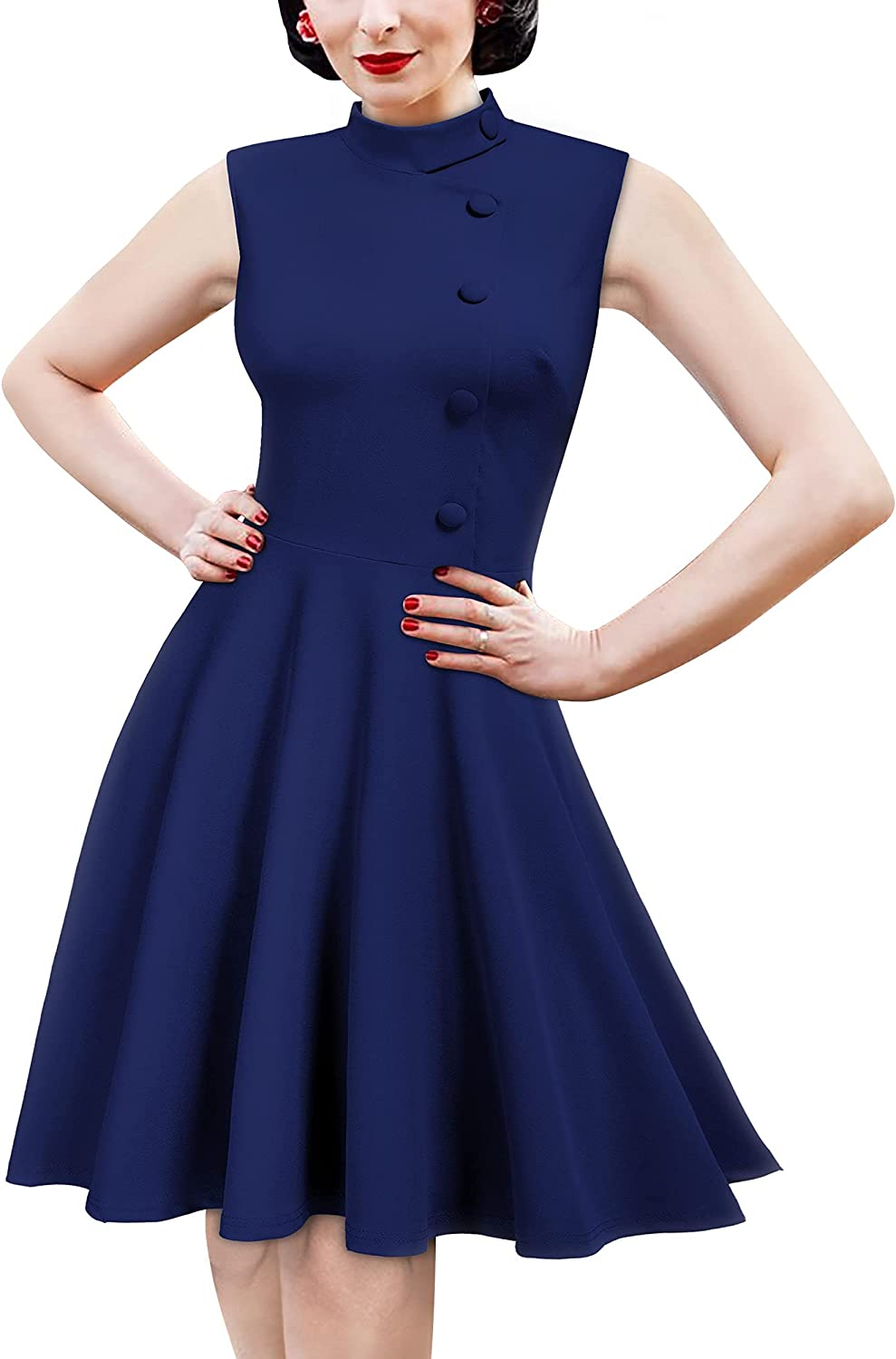 MISSMAY Women's Vintage Style High Collar Cocktail Party Dress