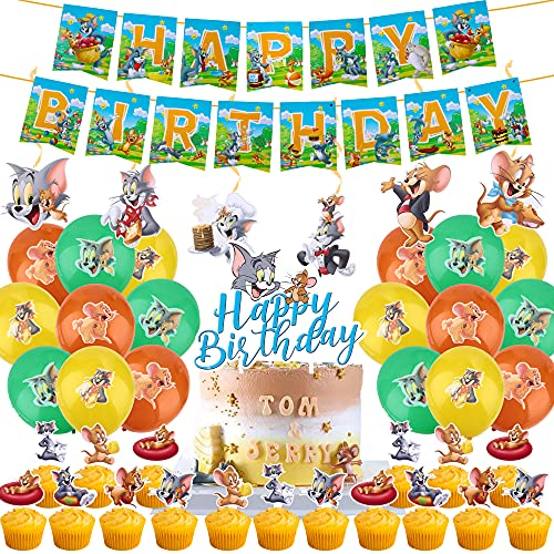 64 Pcs Tom and Jerry Birthday Party Supplies for Boys and Girls Includes Birthday Banner, Hanging Swirls, Balloons, Cupcake Toppers, Cake Topper Party Favors for Kids