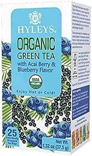 Hyleys Tea Organic Acai and Blueberry Flavor Green Tea - 25 Tea Bags (100% Natural, Sugar Free, Gluten Free and Non-GMO)