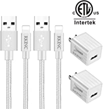 RKINC Phone Charger Nylon Braided Fast Charging Cable [2 Wall Charger + 2 Cable] Data Sync Transfer Cord Dual Port Plug Charger(ETL Listed) Compatible with iPhone XS/XRX/8/7/6S/6/Plus/5S/iPod/iPad