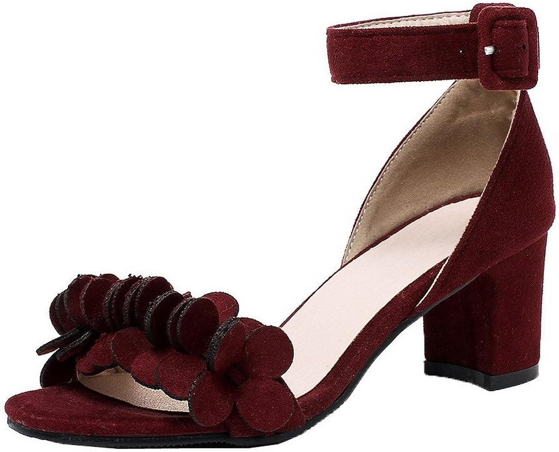 WeiPoot Women's Frosted Buckle Open-Toe Kitten-Heels Solid Sandals, EGHLH005638