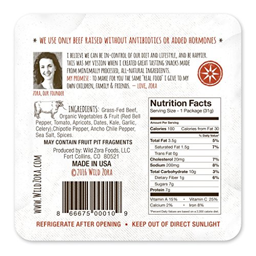 Wild Zora Meat and Veggie Bars - Variety Pack Sampler - Healthy Jerky Paleo Snacks with Organic Veggies - Gluten Free, Soy Free, High Protein, No Added Sugar - (5-Pack)