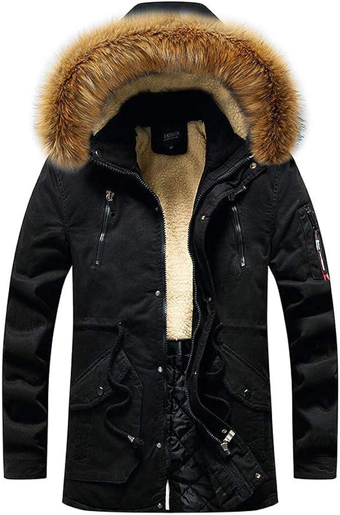 MODOQO Men's Down Coat with Fur Hood, Long Warm Zipper Winter Outwear