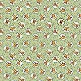Quilt-Stoff mit Disney-Bambi-Motiv, gerahmt auf grünen