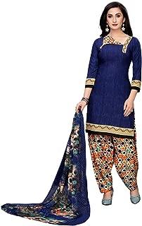 Sukh Creations Women's French Crepe Punjabi Patiyala Salwar Suit Dress Material (N-1155, Blue, Free Size)