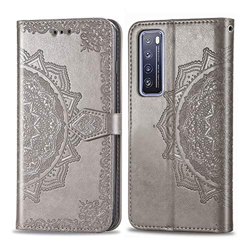 Coque pour Huawei Nova 7 5G Prime PU Cuir Flip Folio Housse Étui Cover Case Wallet Portefeuille Support Dragonne Fermeture Magnétique pour Huawei nova7 - JESD011950 Gris