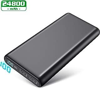 モバイルバッテリー 24800mah 大容量 LCD残量表示 2台同時充電 急速充電対応 スマホ充電器 Android/スマホ/タブレット対応 PSE認証済み