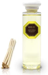 HOUZZ Interior Reed Diffuser Refill Oil Lemon Verbena – Reed Sticks Included – Lemon Zest & Verbena Blossoms with Vetiver & Natural Lemongrass – All Natural No Sulfates or Parabens – Made in The USA