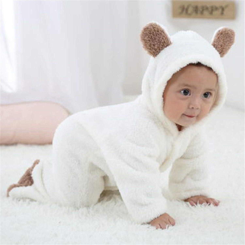 DeeploveUU 新生児赤ちゃん漫画かわいい動物形ロンパースフード付き長袖ジャンプスーツシングルブレスト冬のレジャー服