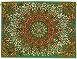 Sophia-Art Colgante Indio tapete Mandala Pequeño Hermoso Tapiz Bohemio Cartel Pared Yoga Algodón Indio Estrella étnica Cartel Hecho a Mano único 42'X 30' (Orange-Green)