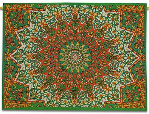 Sophia-Art - Amaca Indiana Mandala, in Cotone, Motivo: Stella Etnica Realizzata a Mano, Dimensioni 42 x 30 cm, Arancione/Verde, 42' X 30'