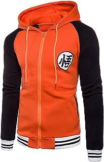 BELLER Men's Anime Dragon Ball Z Goku Symbol Zip Hoodies Long Sleeve Sweatshirt
