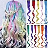 22 Packs Curly Colored Clip in Hair Extensions 22'' Long Curly Rainbow Color Extensions Clip in for Women Girls and Kids Party Highlights Streak Synthetic Hairpieces (11 Colors 22 Pcs )