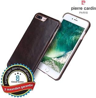 Pierre Cardin echt lederen hardcase hoes Geschikt voor iPhone 7 Plus / 8 Plus - Coffee