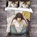 Death Note Funda nórdica + 2 fundas de almohada, juego de ropa de cama infantil, Yagami Light microfibra, decoración para dormitorio (Death Note-4, 135 x 200 cm + 50 x 75 cm x 2)