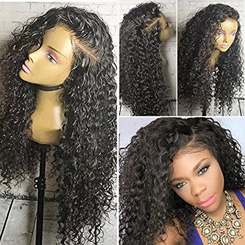 Curly Water Wave Weavy Wig Brazilian Perruque Cheveux Humain Full Lace Wigs Deep Curly wave Sans Colle 130% Density Lace Wigs with Baby Hair (12 inch,