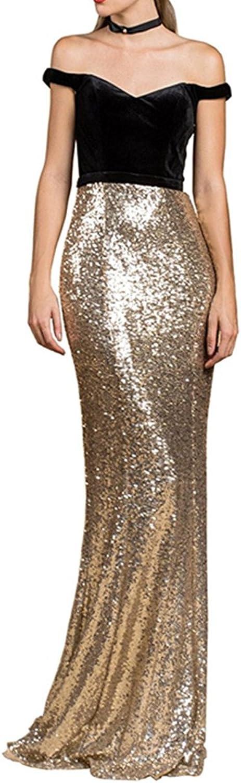 Homdor Mermaid Off Shoulder Evening Gowns Sequined Prom Dresses Long 2018 Velvet