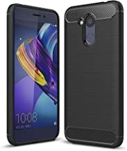For Huawei Honor V9 Play Brushed Texture Carbon Fiber Shockproof TPU Rugged Armor Protective Case (Black) (Color : Black)