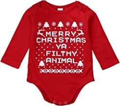 Christmas Infant Baby Boys Girls Letter Romper Long Sleeve Round Neck Floral Xma Cute Baby Outfits 0-18M