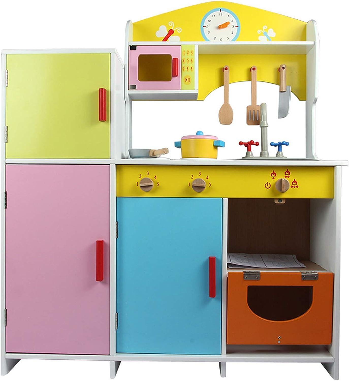 XCXDX Groes Holzküchenspielzeug Mit Kühlschrank, Aufbewahrungsschrank, Sound, Kochspielzeug, Leuchtenden Farben