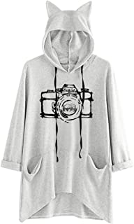 Cute Cat Ear Hoodie Sweatshirt for Women Plus Size Printed Long Sleeve Loose Pullover Blouse with Pocket