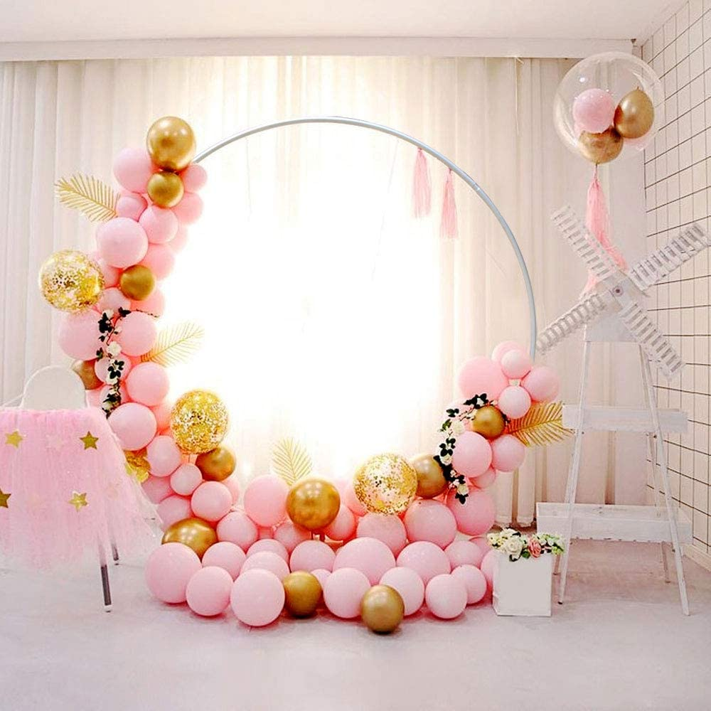 TBVECHI Wedding Arch Backdrop /Φ1.5M//2.0M Metal Round Balloon Arch Single Round Ring Frame Garden Decor Props Flower Plant Stand Iron Circle Romantic Background Decorative 2.0M//6.56FT Silver