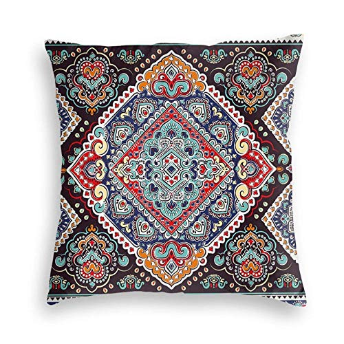 U/k India Vibrant Vintage Framework Bohemia Art Funda de almohada decorativa suave funda de cojín cuadrada para sofá/sofa/coche/cama 22 x 22 pulgadas
