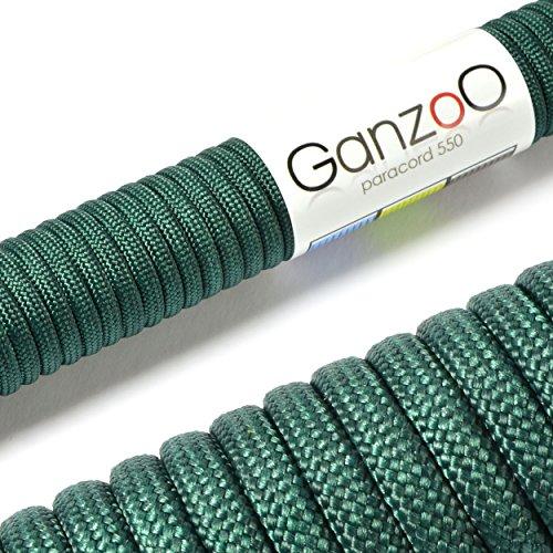 Paracorde 550, corde de survie à usages multiples et ultra-résistante, corde de parachute, corde gainée en nylon, longueur totale: 31m, couleur: vert foncé – ATTENTION: NE PAS UTILISER CETTE CORDE POUR L'ESCALADE, de la marque Ganzoo