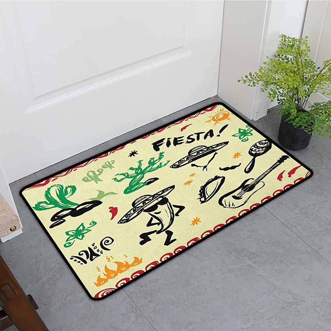 ONECUTE Modern Doormat,Mexican Popular Hispanic Cartoon Objects with Fiesta Taco Guitar Cactus Plant Nachos Print,Machine-Washable/Non-Slip,31