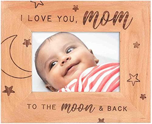 GSM Brands I Love You Mom Wooden Picture Frame for Mothers (Holds 5 x 7 Inch Photo) (9 x 11 Inch Overall Size)