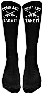 HNJZ-GS, Ven y llévatela Libertad Disparar Pistola Militar Clásicos Rodilla Calcetines Altos Gráfico Calcetín atlético para Hombre y Mujer