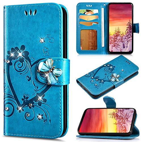Saceebe Compatible avec Huawei Honor 7C Coque en PU Cuir Etui Pochette Portefeuille à Rabat Cover Brillante Glitter Amour Cœur Fleur Motif Flip Case Magnétique Téléphone Housse,Bleu