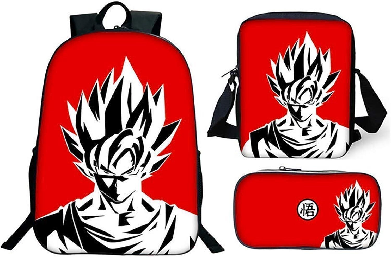 3 Pièces Sac D'école éléHommestaire 3D Motif Dragonball Z Goku Impression Sacs De Livre Sac à Dos De Voyage Sacs pour Primaire Lycée