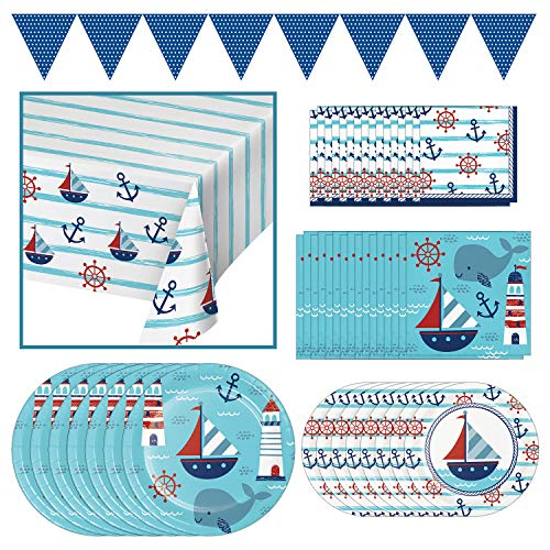 Creative Converting Nautical Baby Party Dinnerware Bundle | Plates, Napkins, Table Cover, Banner | Baby Shower, Sailors Decor, Gender Reveal, Birthday Boy Celebration