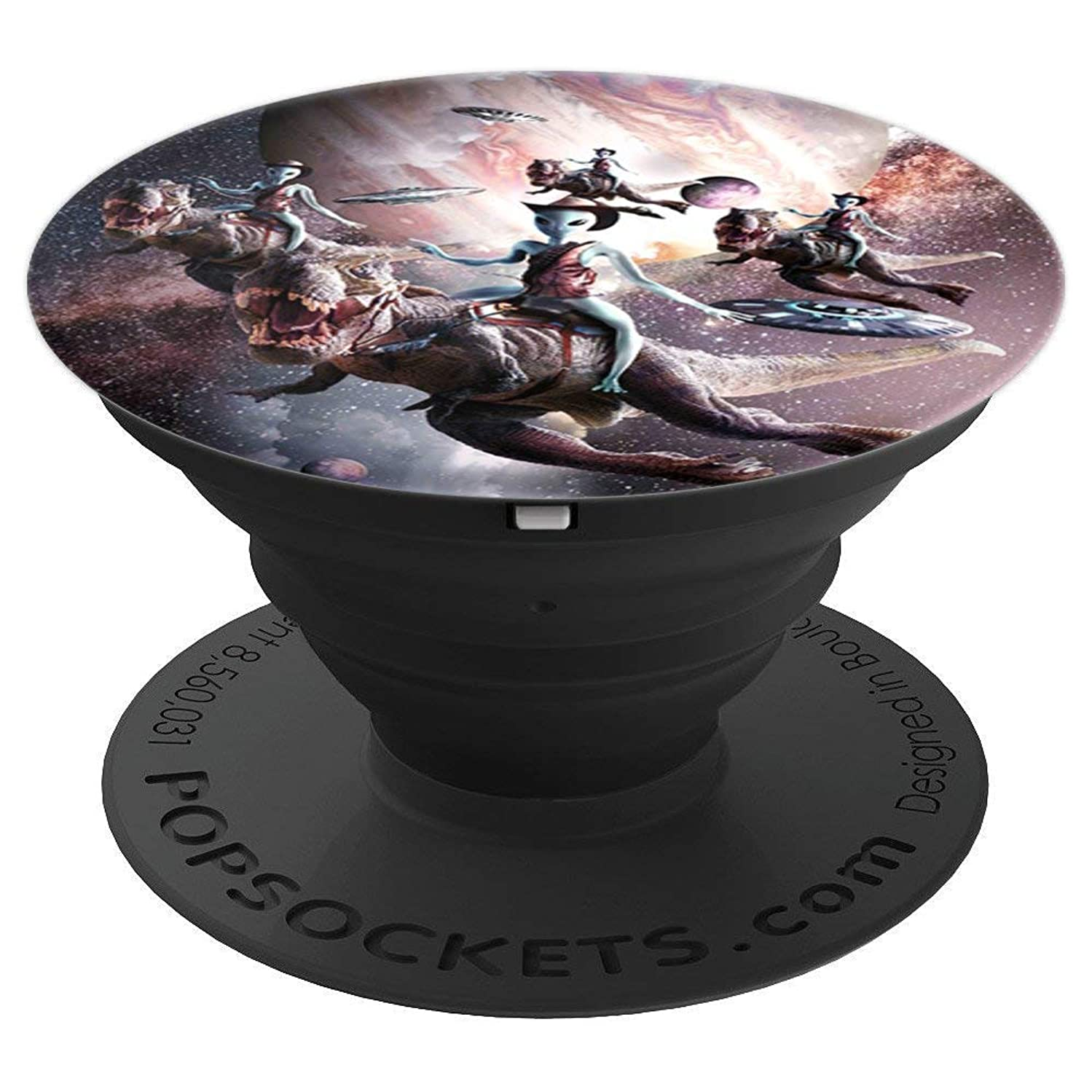 Alien Riding T-Rex Dinosaur In Space - PopSockets Grip and Stand for Phones and Tablets