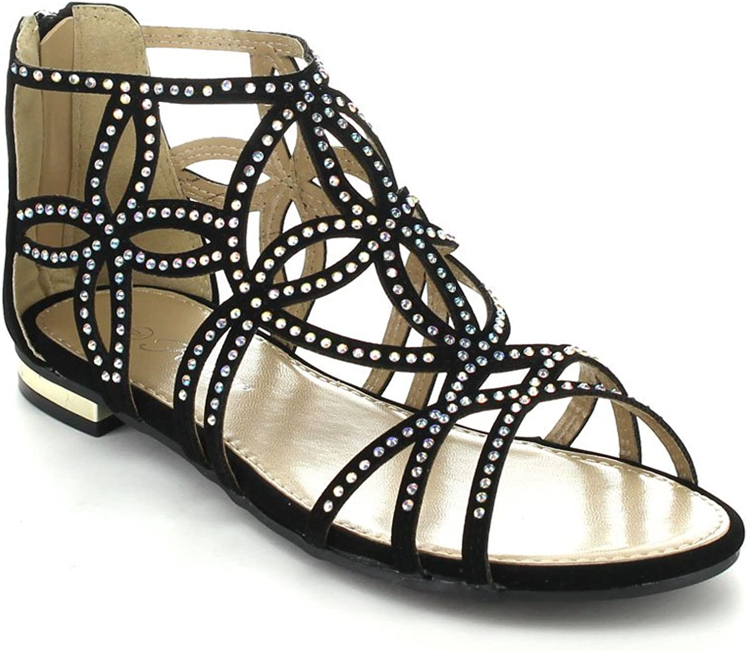 Forever Tory-63 Womens Cut Out Back Zip Flat Sandals,Black,6