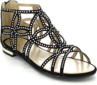 Forever Tory-63 Womens Cut Out Back Zip Flat Sandals