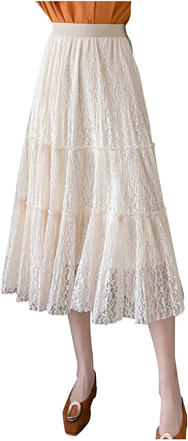 iCODOD Women Floral Tulle Double Layer Tutu Skirt Pleated Tiered Elastic Stretchy Daily Chic Soft Elegant Wedding Party