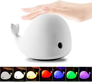 Allnice 4-Modes Children Night Light, USB Rechargeable Dolphin Night Light With Warm White, Strong White, 5 Single Colors ...