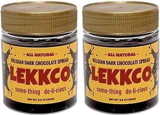 Lekkco Original Flavor Belgian Dark Chocolate Spread, Gluten-Free, Vegan, 8.8 Oz, 2 Pack Plastic