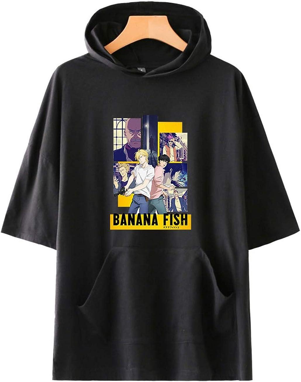Banana Fish Camiseta con Capucha de Manga Corta Informal de algod/ón de Verano Unisex