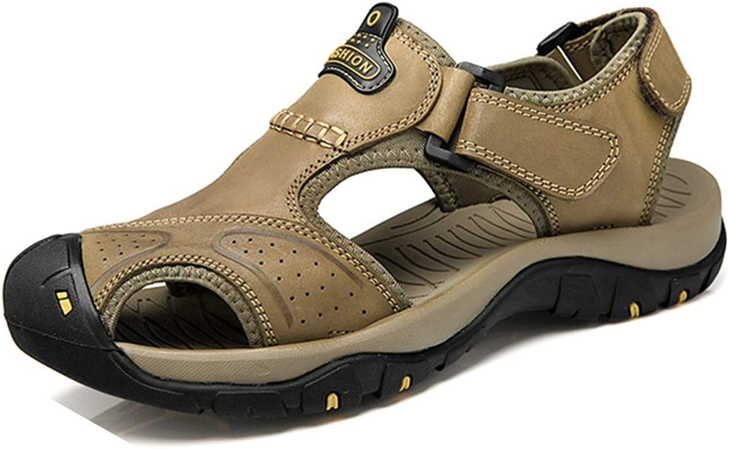ChengxiO 2019 Sandals Men's Beach shoes Outdoor Sports Casual Men's Sandals Men's Large Size Men's shoes First Layer Leather Sandals (color   Dark Brown, Size   245mm)