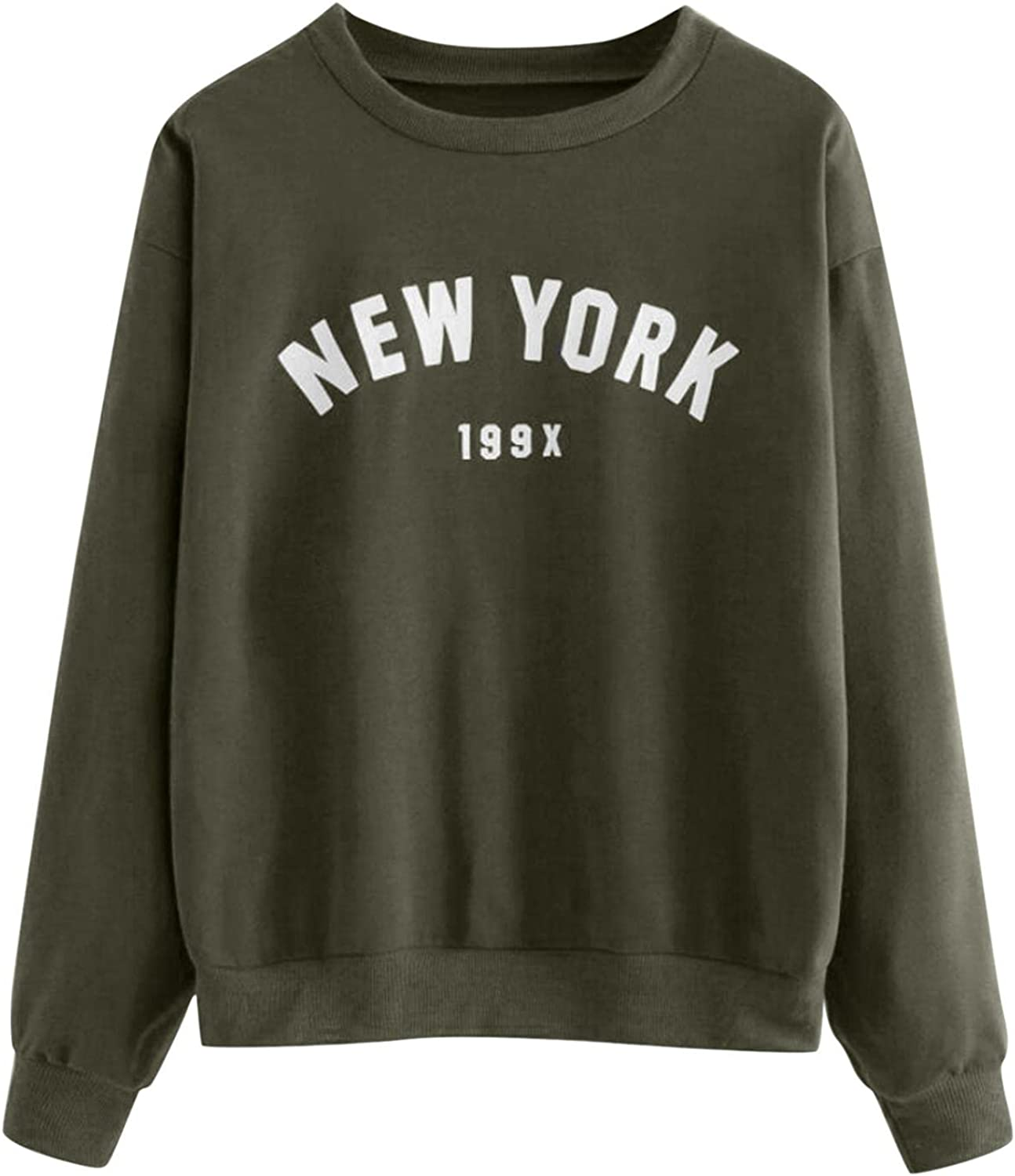 Basic Sweatshirts Womens, Fashion New York 199x Letter Print Pullover Tops Long Sleeve Round Neck Blouse for Teen Girl