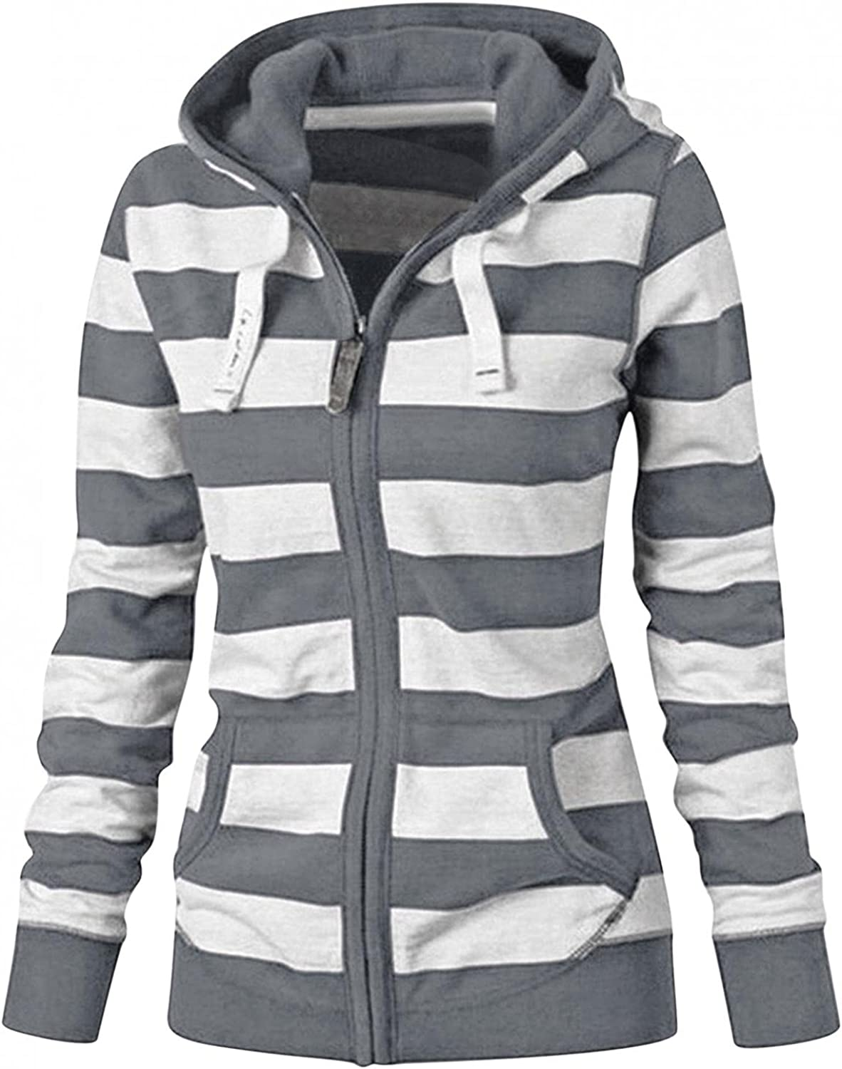 Gibobby Hoodies for Women Long Sleeve Pullover Hooded Lightweight Drawstring Stripe Print Sweatshirts Comfy Loose Blouses