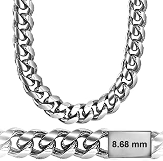 Miami Cuban Link Sterling Silver 8.6mm Chain, Solid & Heavy, Platinum Plated, Hand Made in Italy, Secure LinxLock Design