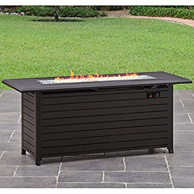 Better Homes and Gardens Carter Hills, Durable and Rust-resistant Design 57  Rectangular Gas Fire Pit, with Stainless Steel Burner
