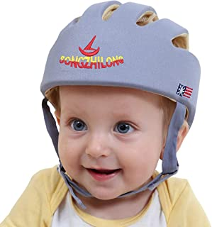 Infant Baby Safety Helmet, IULONEE Toddler Adjustable Protective Cap, Children Safety Headguard Harnesses Protection Hat for Running Walking Crawling Safety Helmet for Kids (Grey)