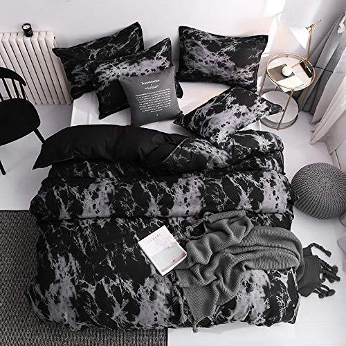 GEEKCOOK Bettwäsche 4 Stück,Einfache Bettwäsche Bettbezug Kissenbezug Dreiteiliges Bettwäscheset mit Kissenbezug Einzel Doppelbettdecke Schwarzer Bettbezug-a10_175 x 220 cm