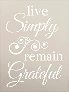 "Live Simply Remain Grateful Stencil by StudioR12 | DIY Cursive Script Inspirational Embellished Home Decor Word Art | Craft & Paint Wood Signs | Reusable Mylar Template | Select Size (6"" x 8"")"